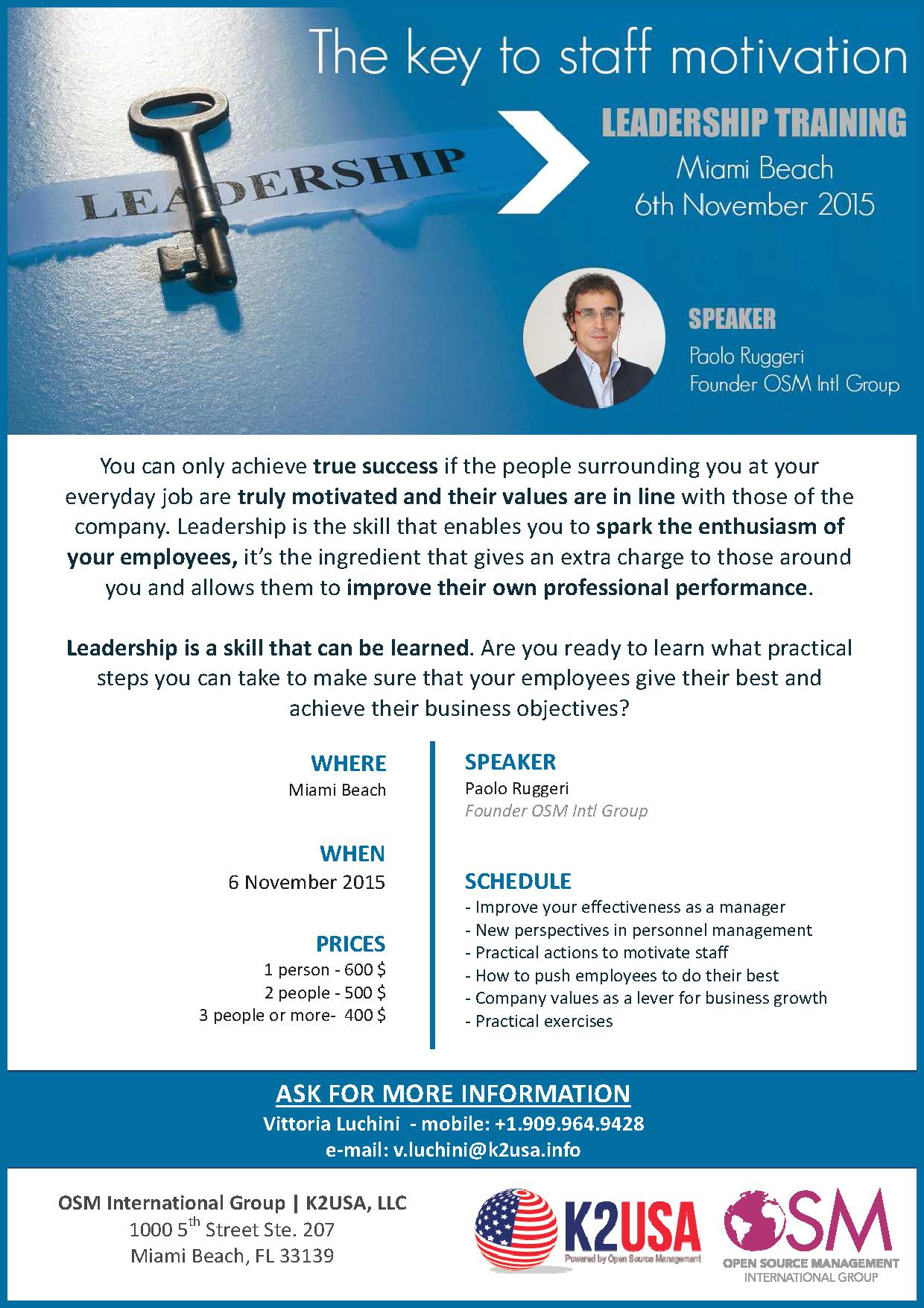 Leadership Training On Nov 6th By K2usa Llc Iacc Miami